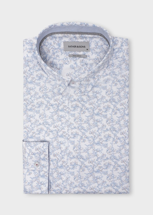 Chemise sport Slim en coton façonné blanc à motif fleuri - Father and Sons 35743