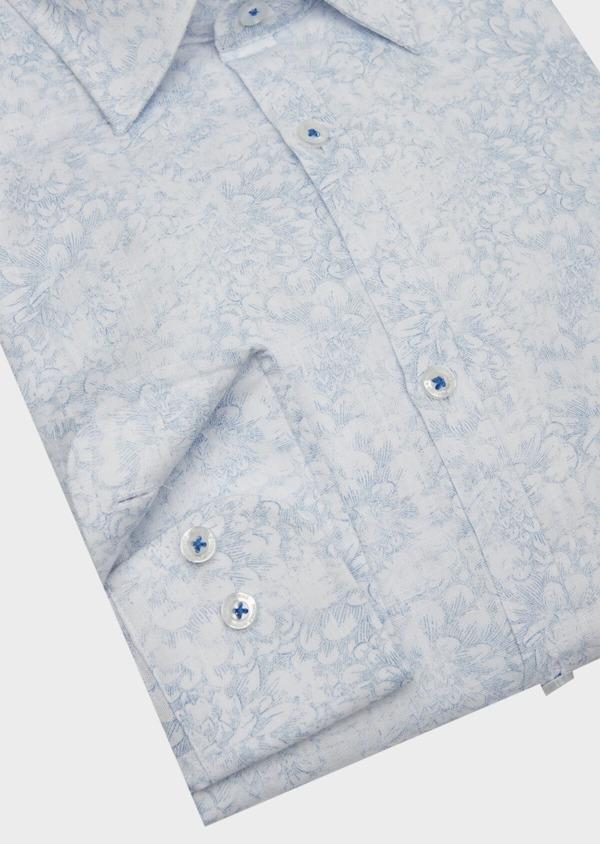 Chemise sport Slim en popeline de coton blanc à motif fleuri bleu - Father and Sons 38434