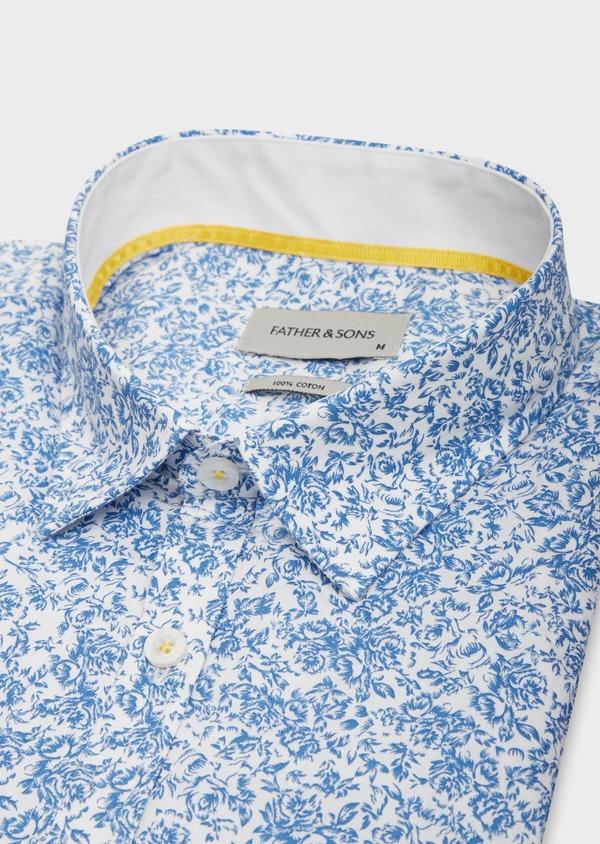 Chemise sport Slim en popeline de coton blanc à motif fleuri bleu - Father and Sons 38638