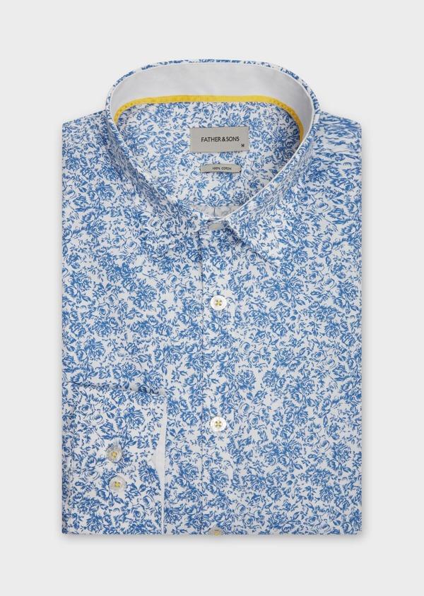 Chemise sport Slim en popeline de coton blanc à motif fleuri bleu - Father and Sons 38636