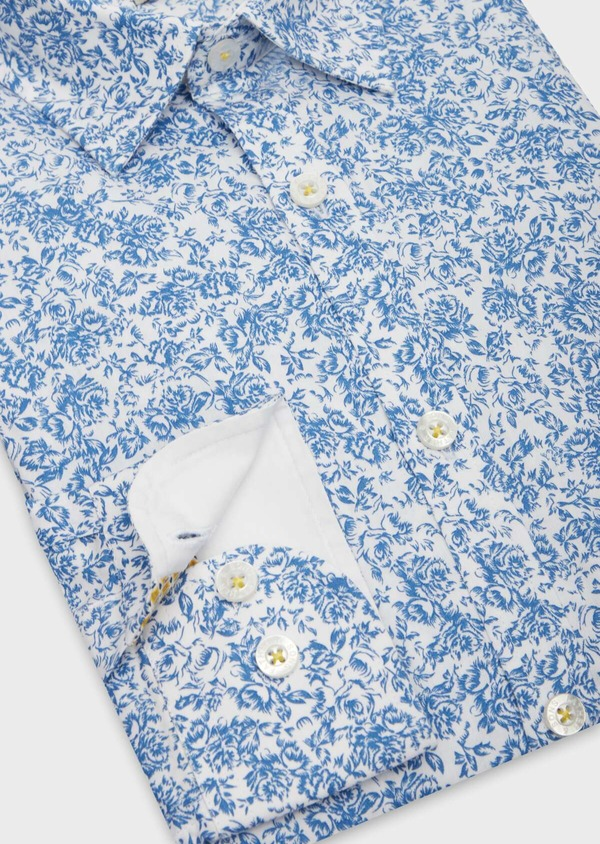 Chemise sport Slim en popeline de coton blanc à motif fleuri bleu - Father and Sons 38639