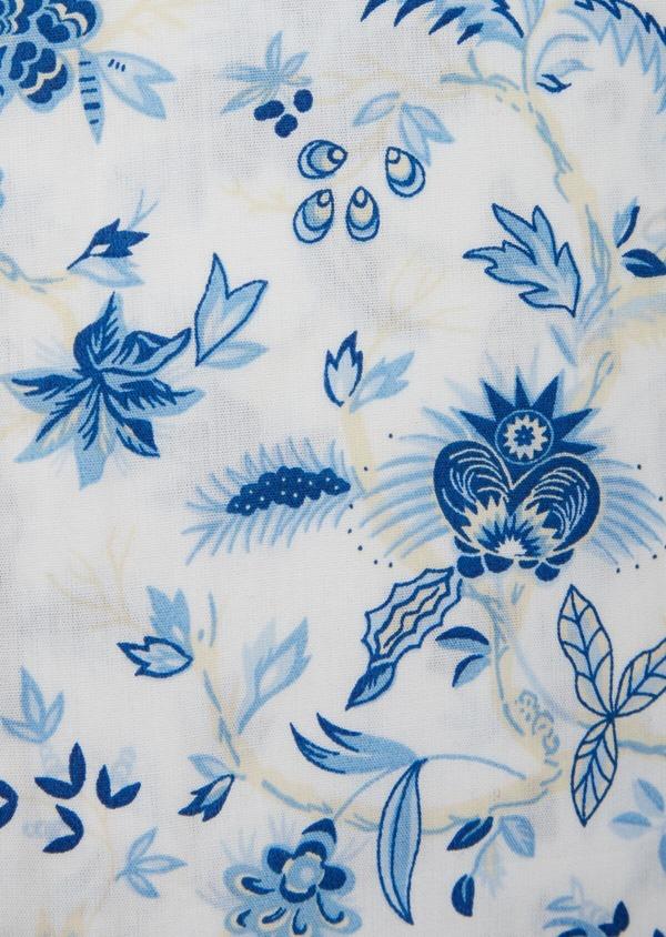 Chemise sport Slim en popeline de coton blanc à motif fleuri bleu - Father and Sons 39298
