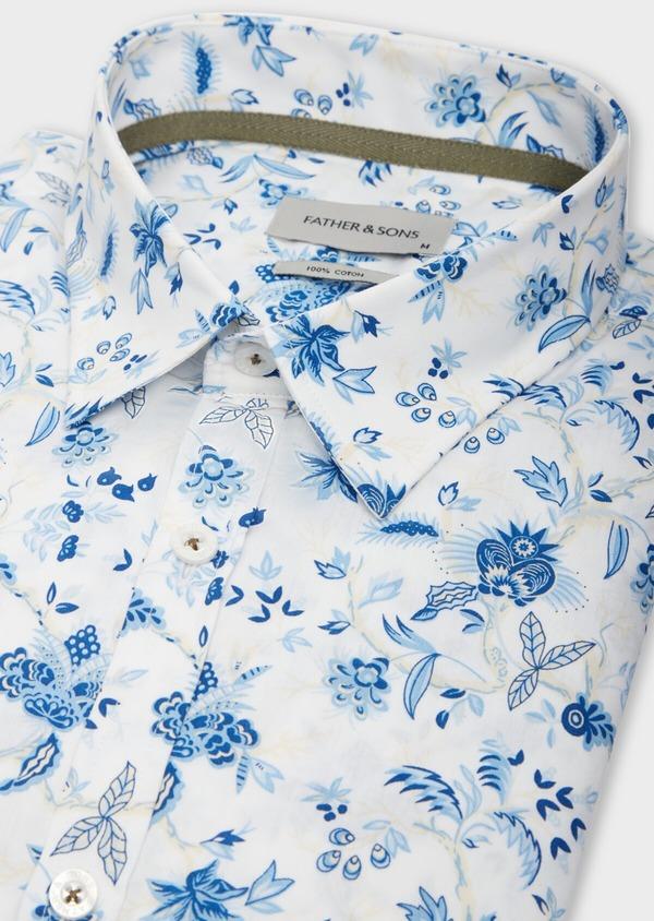 Chemise sport Slim en popeline de coton blanc à motif fleuri bleu - Father and Sons 39300