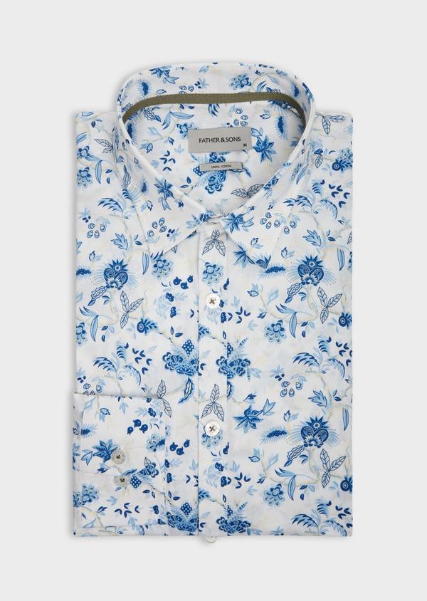 Chemise sport Slim en popeline de coton blanc à motif fleuri bleu - Father and Sons 39297