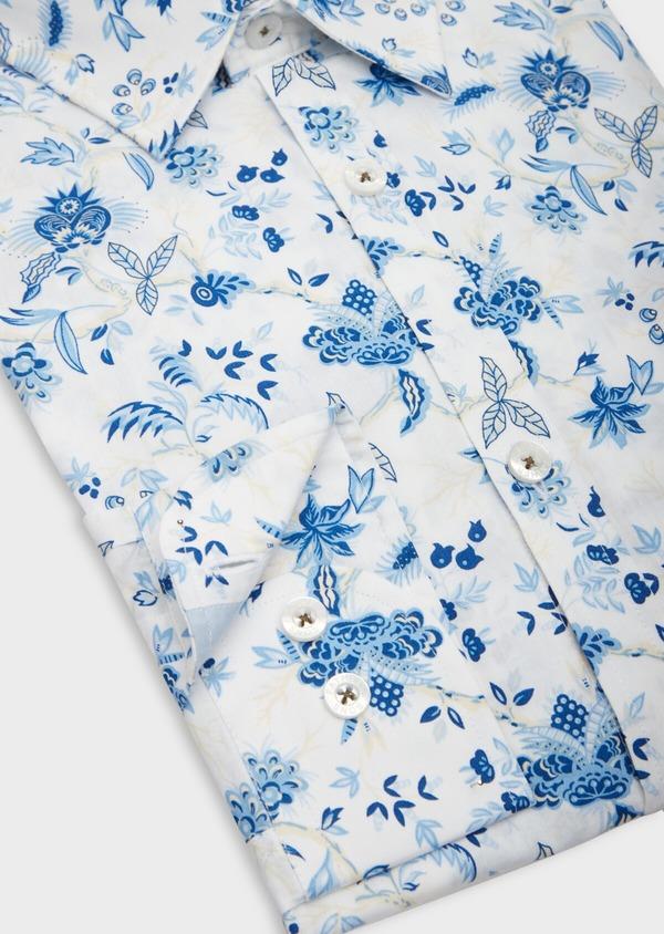 Chemise sport Slim en popeline de coton blanc à motif fleuri bleu - Father and Sons 39299
