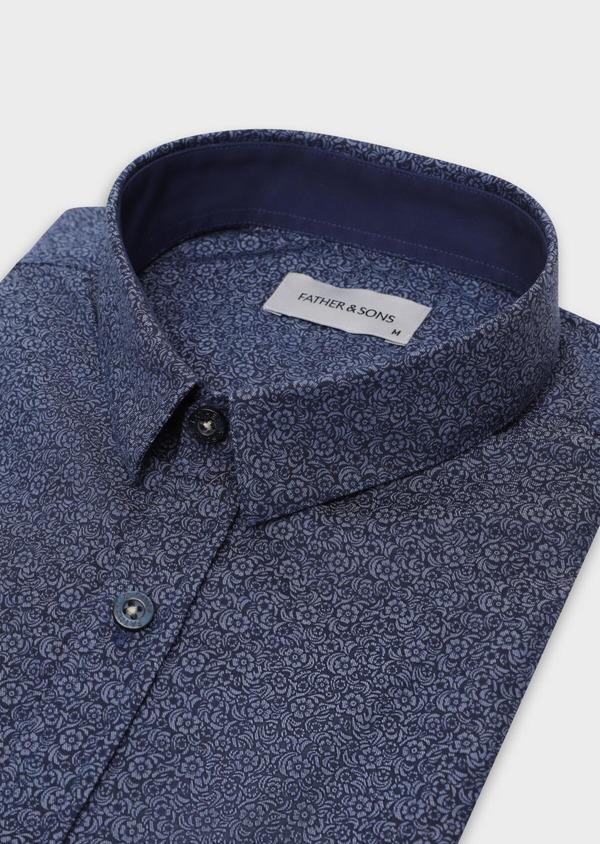 Chemise sport Slim en popeline de coton bleu marine à motif fleuri - Father and Sons 35638
