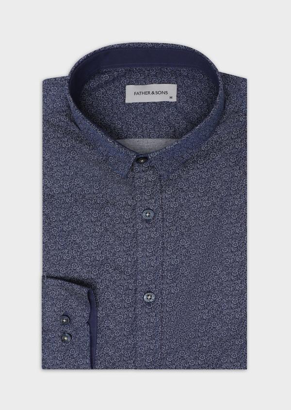 Chemise sport Slim en popeline de coton bleu marine à motif fleuri - Father and Sons 35636