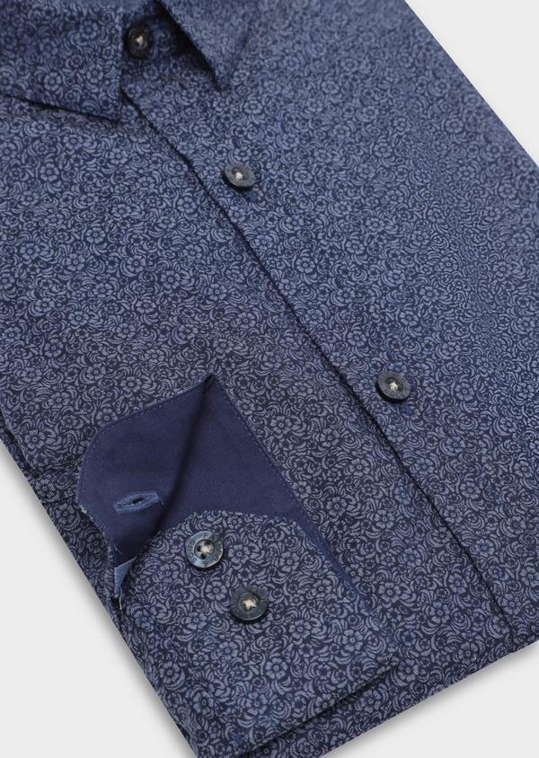 Chemise sport Slim en popeline de coton bleu marine à motif fleuri - Father and Sons 35639