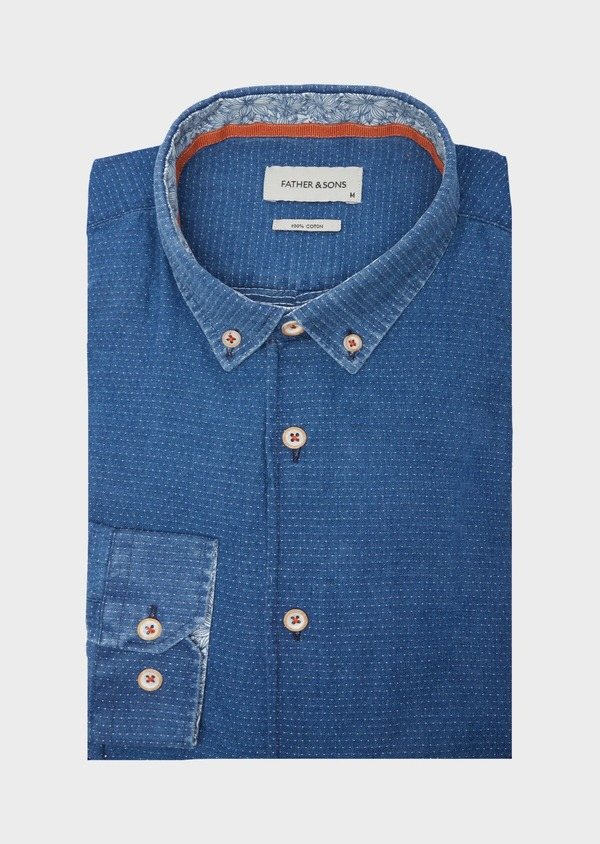 Chemise sport Slim en coton bleu indigo à pois - Father and Sons 40135