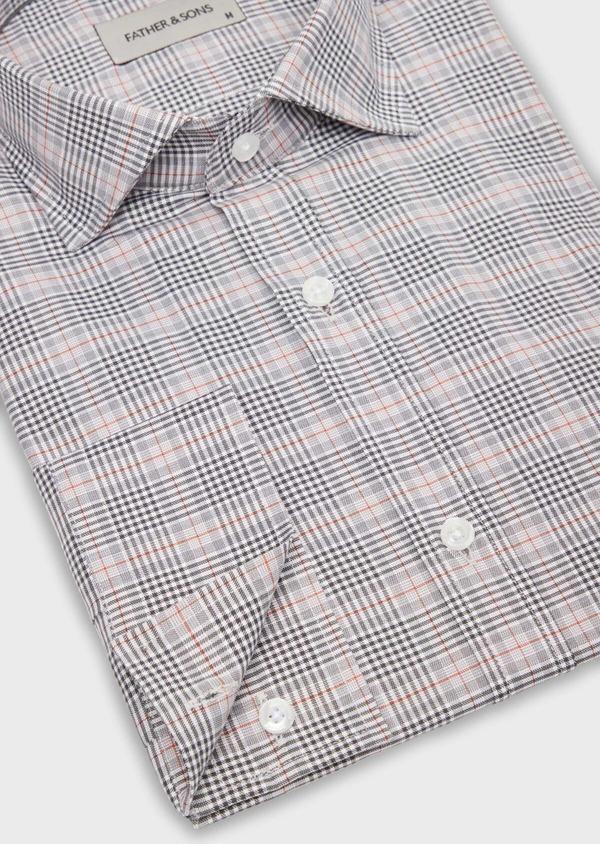 Chemise sport Slim en popeline de coton gris à motif Prince-de-Galles - Father and Sons 36586