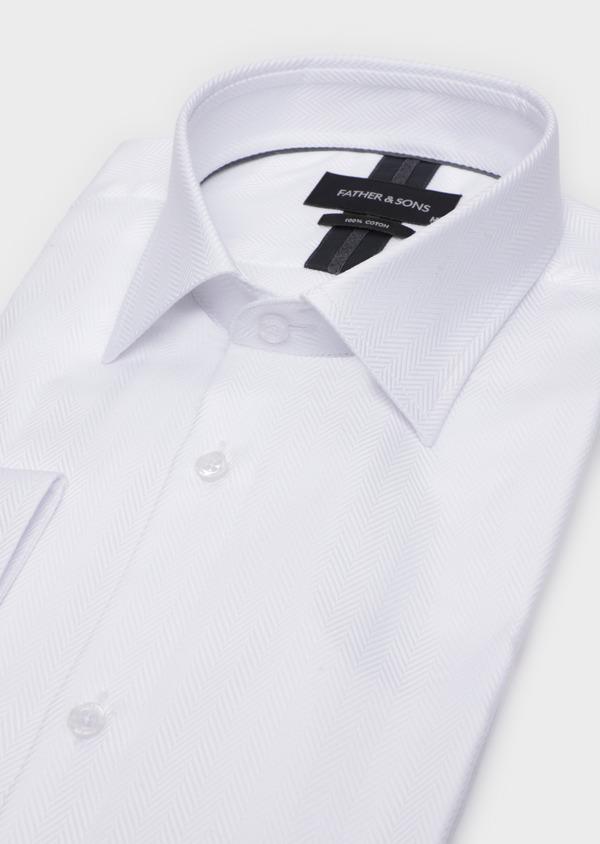 Chemise habillée Regular en chevron coton uni blanc - Father and Sons 34922