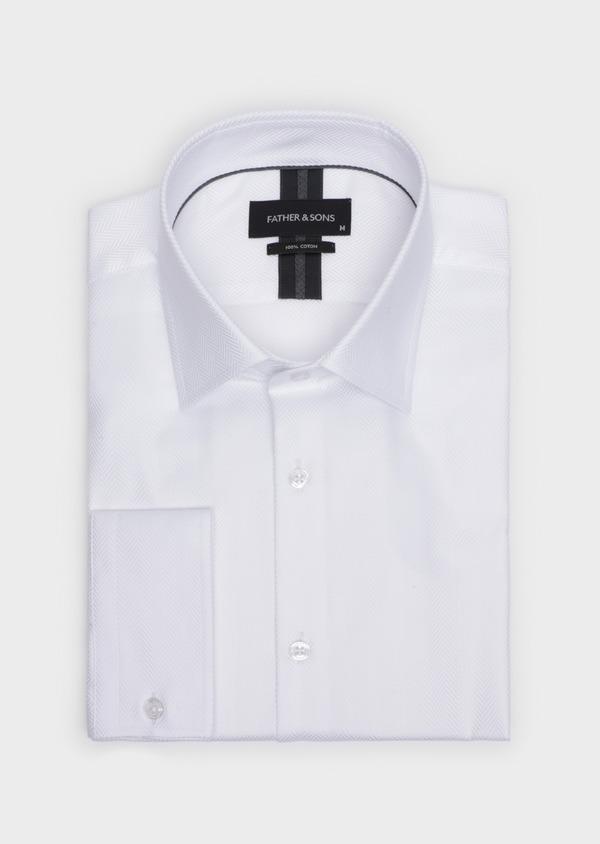 Chemise habillée Regular en chevron coton uni blanc - Father and Sons 34920