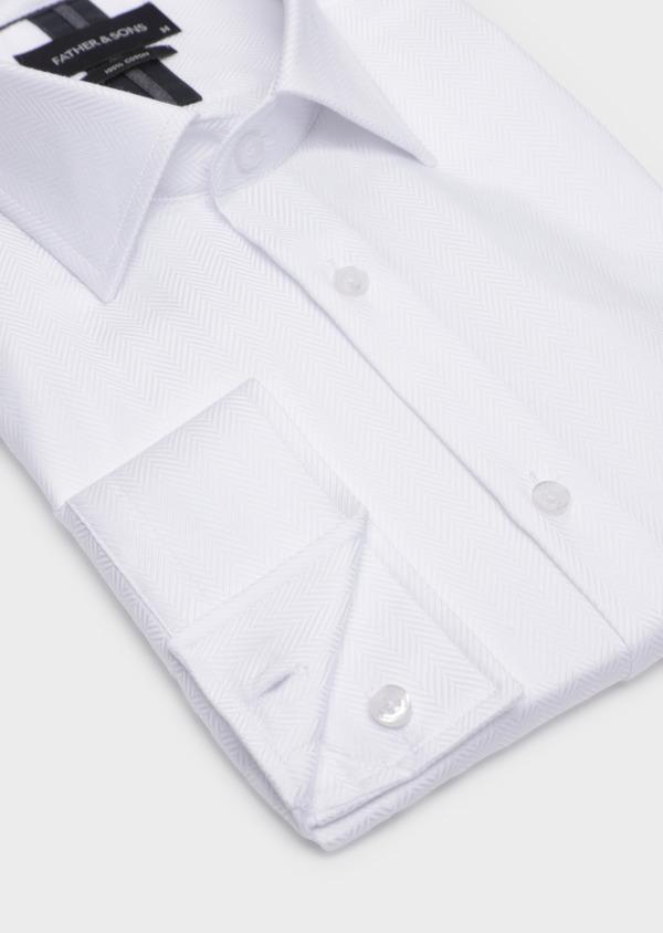 Chemise habillée Regular en chevron coton uni blanc - Father and Sons 34923