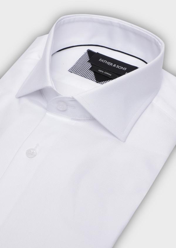 Chemise habillée Regular en coton façonné uni blanc - Father and Sons 34998