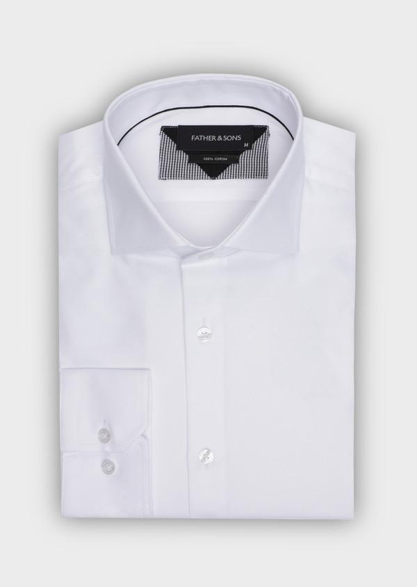 Chemise habillée Regular en coton façonné uni blanc - Father and Sons 34996