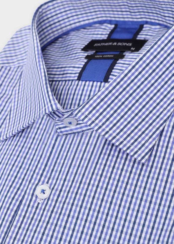 Chemise habillée Regular en popeline de coton à carreaux bleus et blancs - Father and Sons 34898