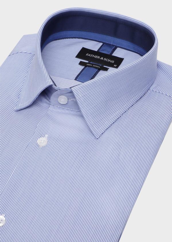 Chemise habillée Regular en popeline de coton à rayures bleues et blanches - Father and Sons 34958