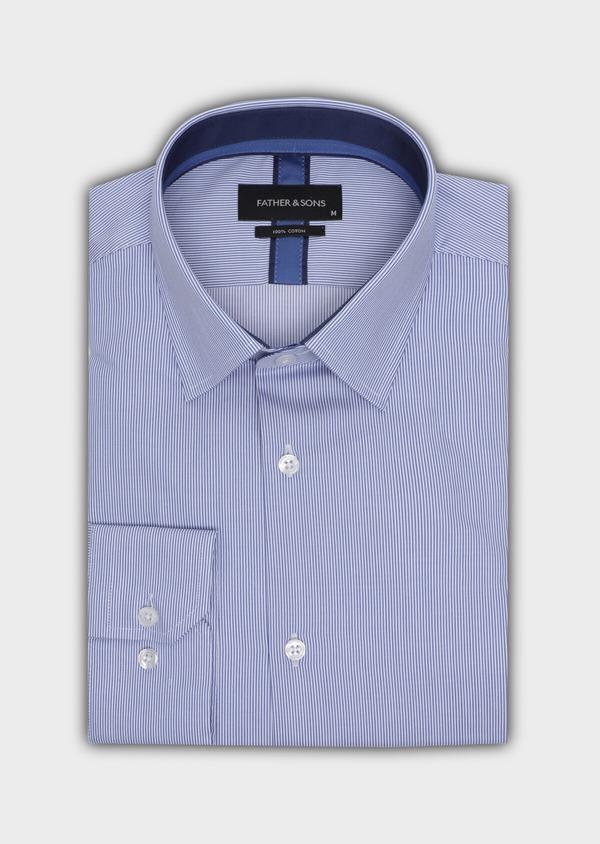 Chemise habillée Regular en popeline de coton à rayures bleues et blanches - Father and Sons 34956