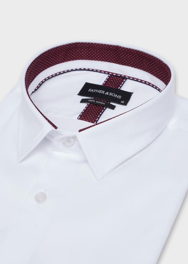 Chemise habillée Regular en satin de coton uni blanc - Father and Sons 34938