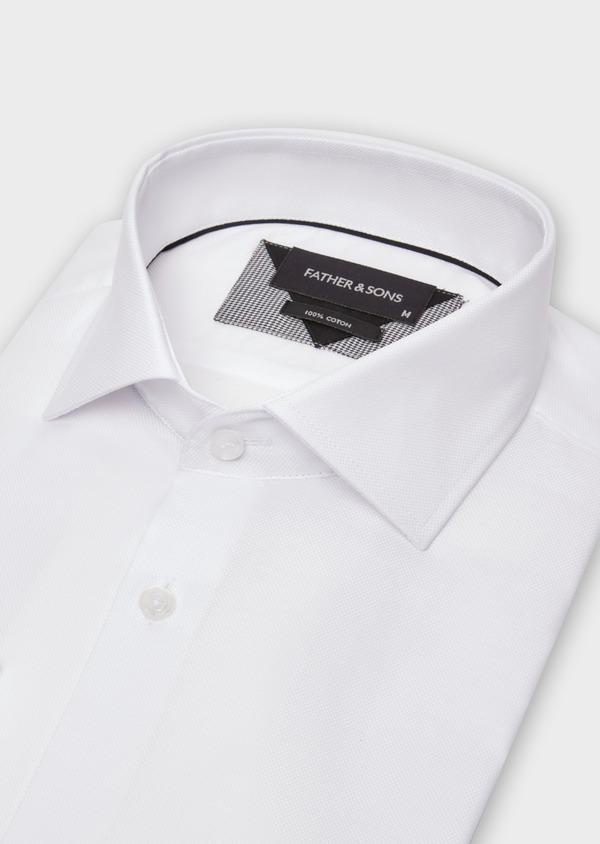 Chemise habillée Regular en coton façonné uni blanc - Father and Sons 36659