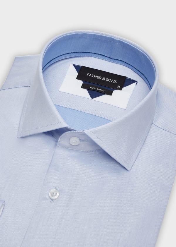 Chemise habillée Regular en twill de coton uni bleu chambray - Father and Sons 38385