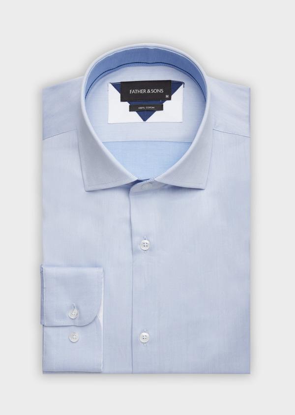 Chemise habillée Regular en twill de coton uni bleu chambray - Father and Sons 38383