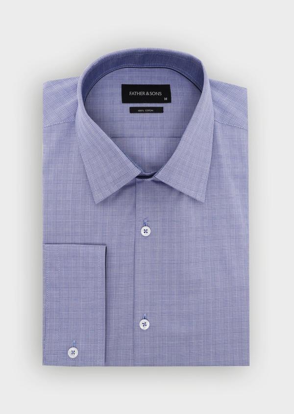 Chemise habillée Slim en popeline de coton à carreaux bleus et blancs - Father and Sons 34960