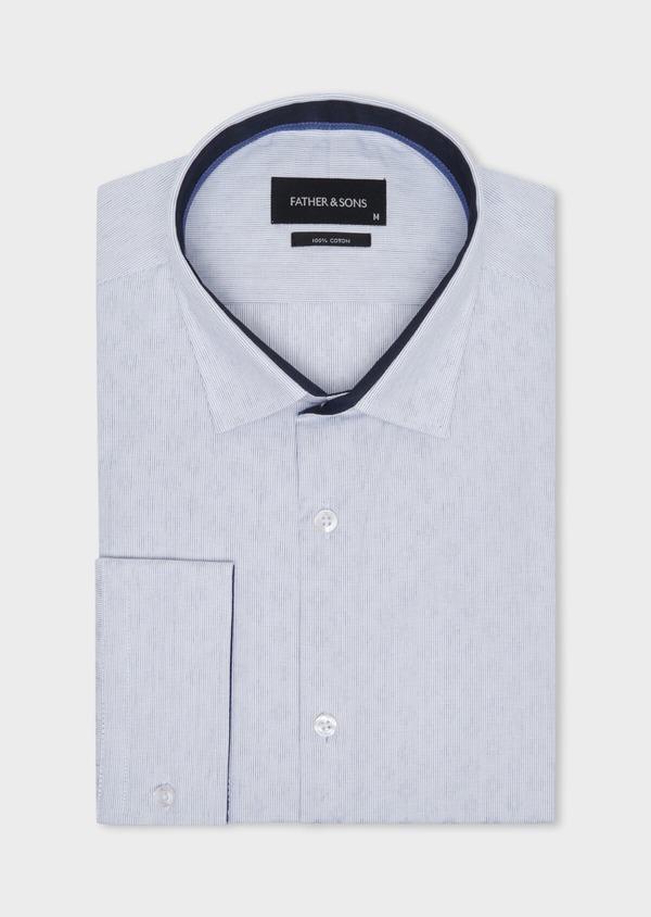 Chemise habillée Slim en twill de coton blanc à motif fantaisie bleu - Father and Sons 34944