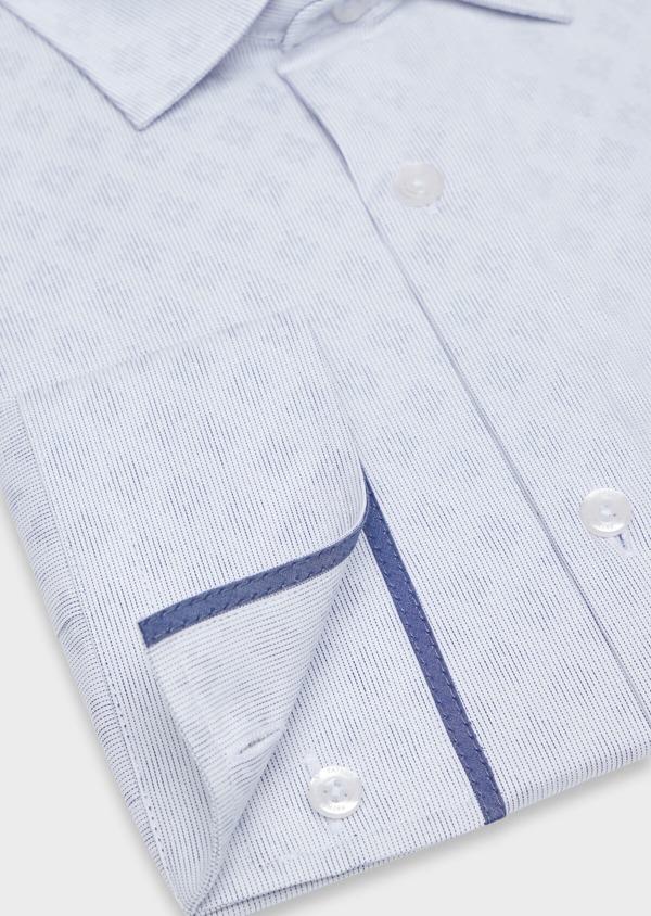 Chemise habillée Slim en twill de coton blanc à motif fantaisie bleu - Father and Sons 34947