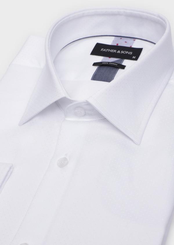 Chemise habillée Slim en coton façonné blanc à motif fantaisie - Father and Sons 34950