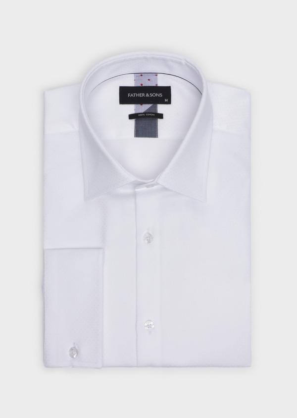 Chemise habillée Slim en coton façonné blanc à motif fantaisie - Father and Sons 34948