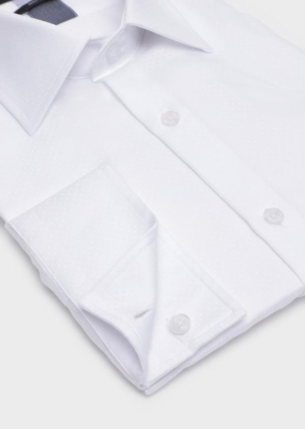 Chemise habillée Slim en coton façonné blanc à motif fantaisie - Father and Sons 34951
