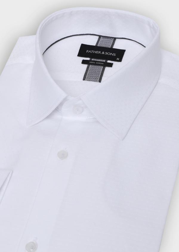 Chemise habillée Slim en coton façonné blanc à motif fantaisie - Father and Sons 35618