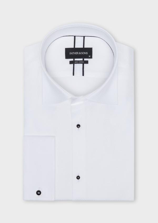 Chemise habillée Slim en coton façonné blanc à motifs géométriques ton sur ton - Father and Sons 34992