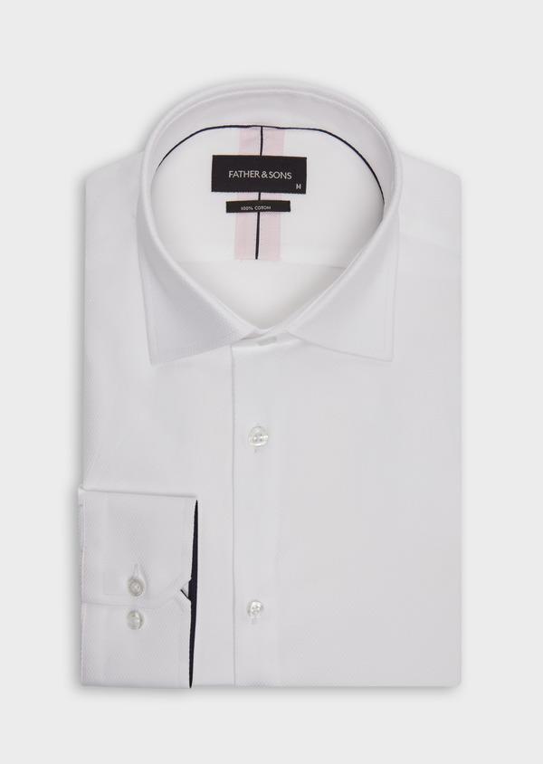 Chemise habillée Slim en coton façonné blanc à motif fantaisie - Father and Sons 36653