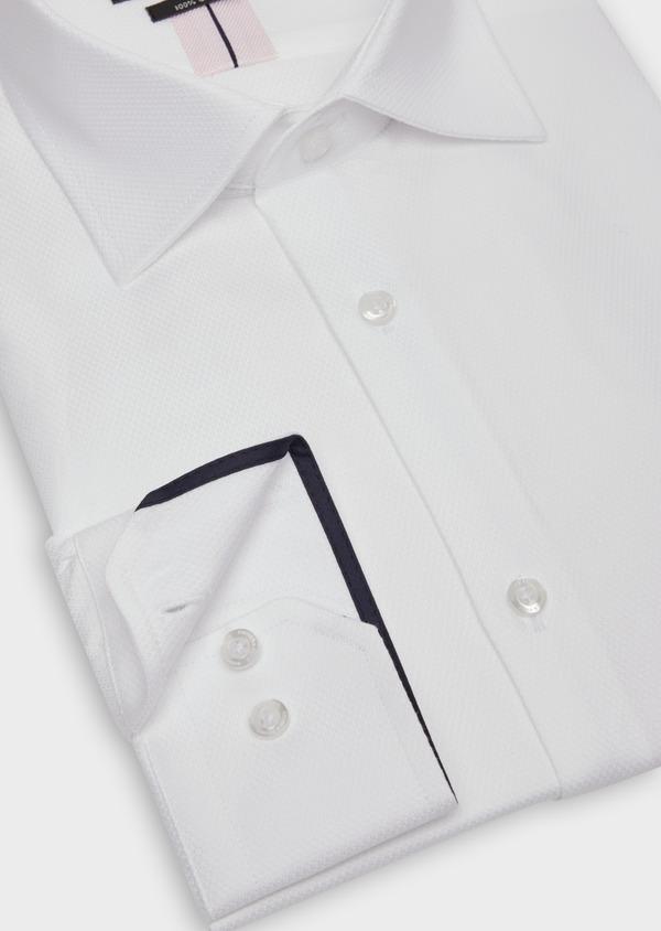 Chemise habillée Slim en coton façonné blanc à motif fantaisie - Father and Sons 36656