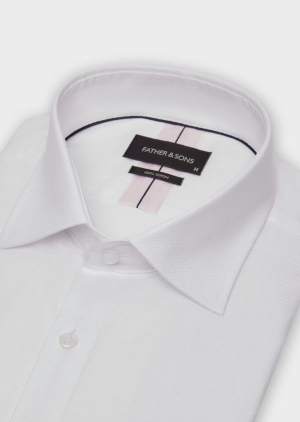 Chemise habillée Slim en coton façonné blanc à motif fantaisie - Father and Sons 36663