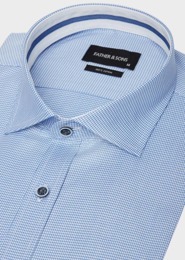 Chemise habillée Slim en popeline de coton bleu azur à motif fantaisie - Father and Sons 38996
