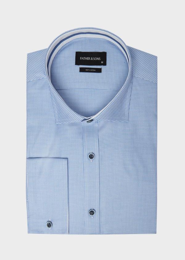Chemise habillée Slim en popeline de coton bleu azur à motif fantaisie - Father and Sons 38994