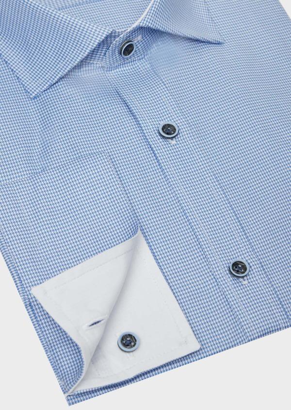 Chemise habillée Slim en popeline de coton bleu azur à motif fantaisie - Father and Sons 38997