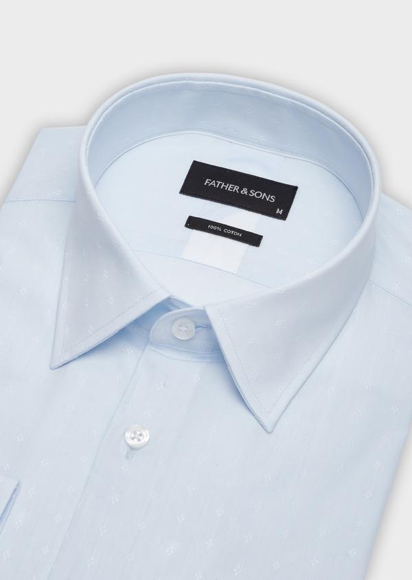 Chemise habillée Slim en popeline de coton bleu pâle à motif fantaisie - Father and Sons 38333