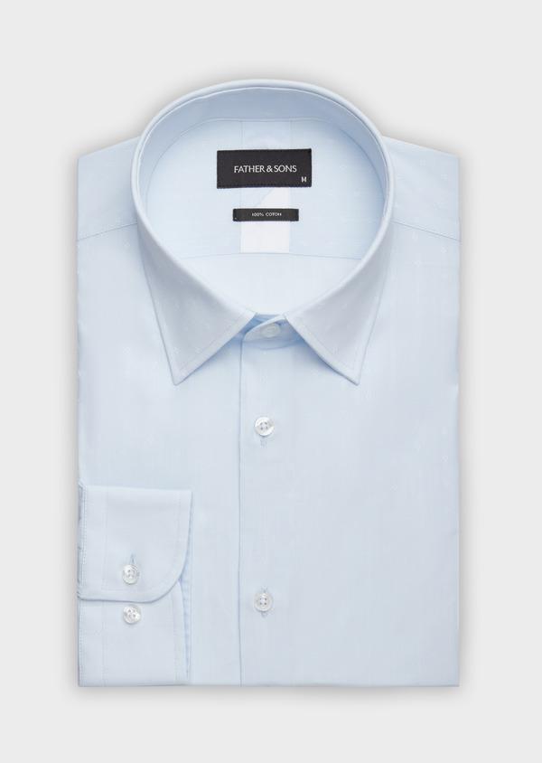 Chemise habillée Slim en popeline de coton bleu pâle à motif fantaisie - Father and Sons 38331
