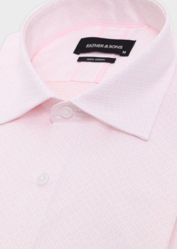 Chemise habillée Slim en coton façonné rose à motifs géométriques - Father and Sons 34878
