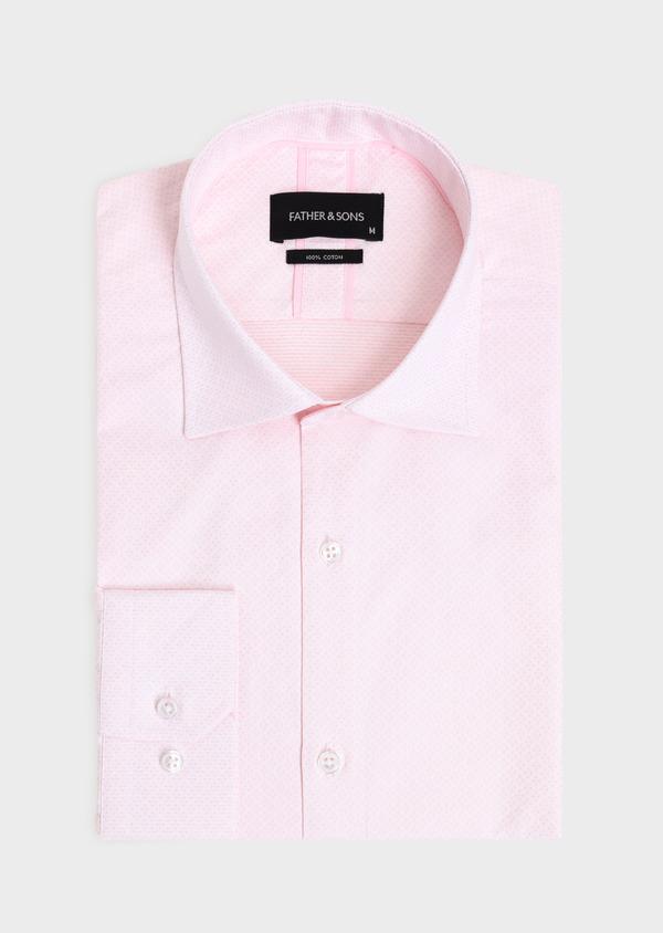 Chemise habillée Slim en coton façonné rose à motifs géométriques - Father and Sons 34876