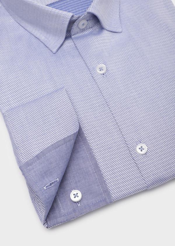 Chemise habillée Slim en coton Jacquard bleu chambray à motif fantaisie bleu et blanc - Father and Sons 35791