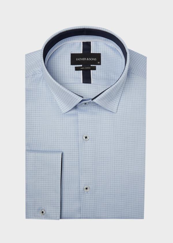 Chemise habillée Slim en coton bleu ciel à motif fantaisie - Father and Sons 37210