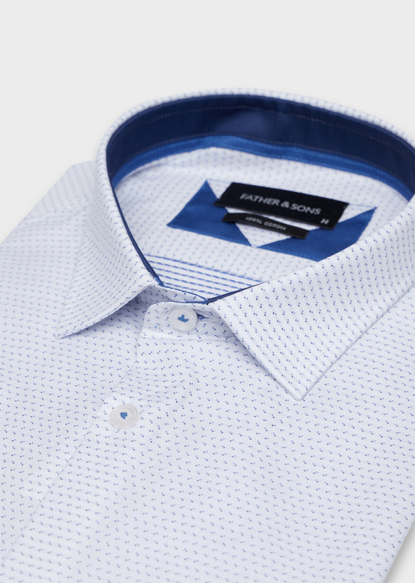 Chemise habillée Slim en popeline de coton à motif fantaisie bleu - Father and Sons 34966