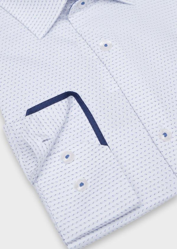 Chemise habillée Slim en popeline de coton à motif fantaisie bleu - Father and Sons 34967