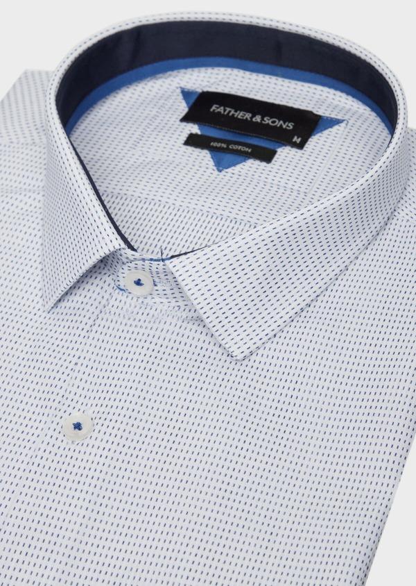 Chemise habillée Slim en popeline de coton bleu à motif fantaisie - Father and Sons 37205