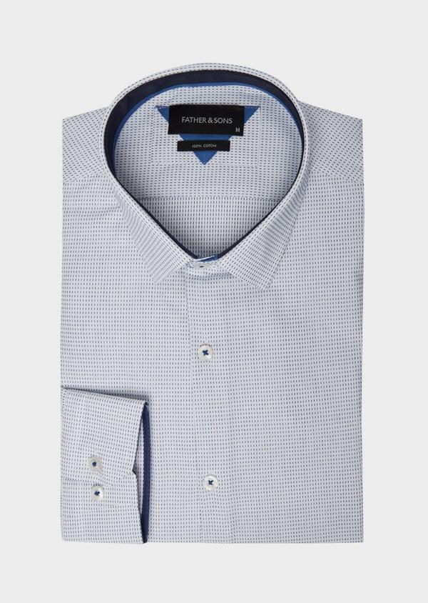 Chemise habillée Slim en popeline de coton bleu à motif fantaisie - Father and Sons 37202